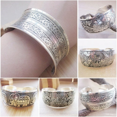 Women Deluxe Miao National Style Homemade Bracelet Exquisite 925 Sterling Silver Wrist Jewelry