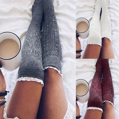 Women Winter Warm Casual Knitted Long Boots Socks Over Knee Thigh High Stockings