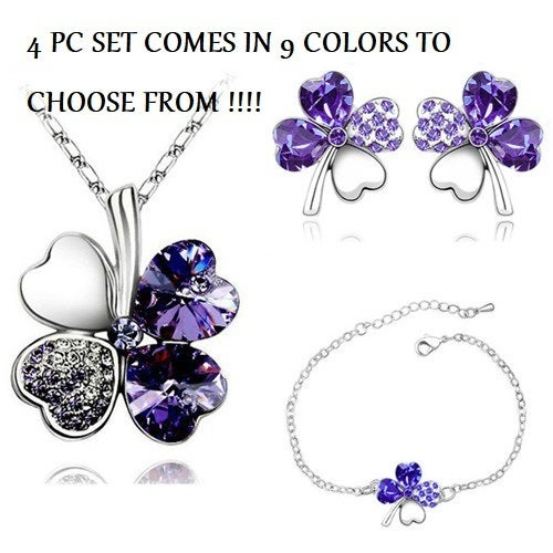 Bogo offer buy one set get one for $10.  4 Leaf Lucky Clover 3 pc set.  Comes in 9 colors to choose from!!!