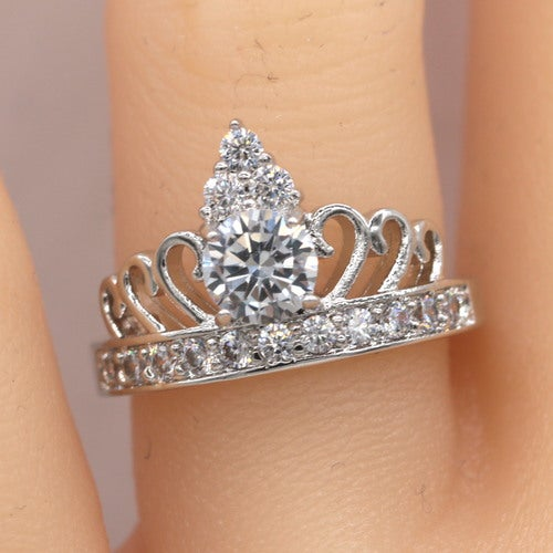 Crown Ring Tiara Ring Princess White Gold AAA CZ Women Wedding Ring Chrismas Gift #687