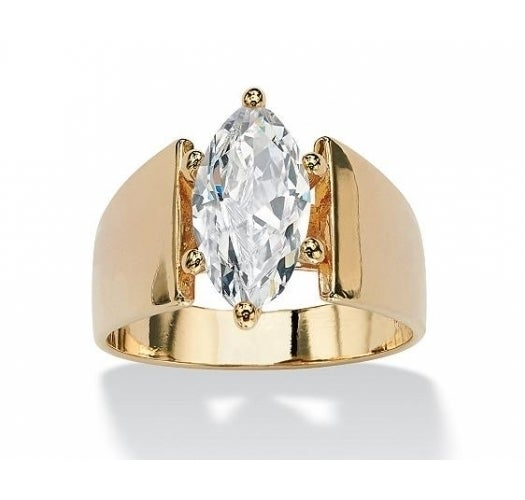 Yellow Gold Plated Cathedral Style Marquise Solitaire 4.09 ct CZ Ring