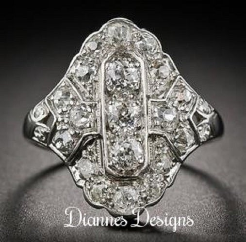 Vintage Inspired 2.75 Carat Ring 21x17mm By Diannes Designs