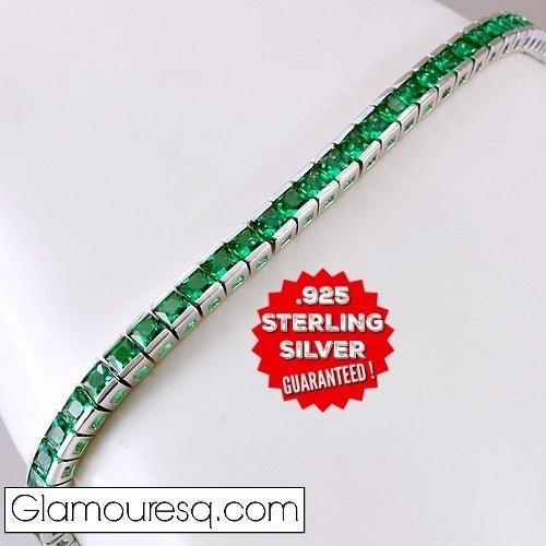 .925 Sterling Silver, 5.50ctw. Emerald Tennis Bracelet. GlamSS403 By:Glamouresq.com LIMITED QUANTITIES!