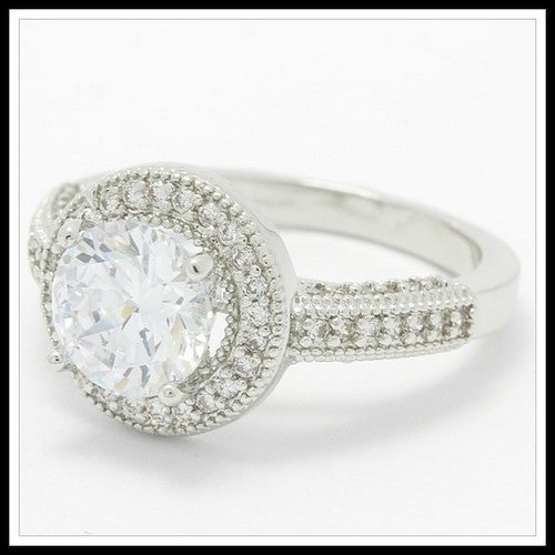 14k White Gold Filled, Beautifully Created Fine White Sapphire Ring Sm9157