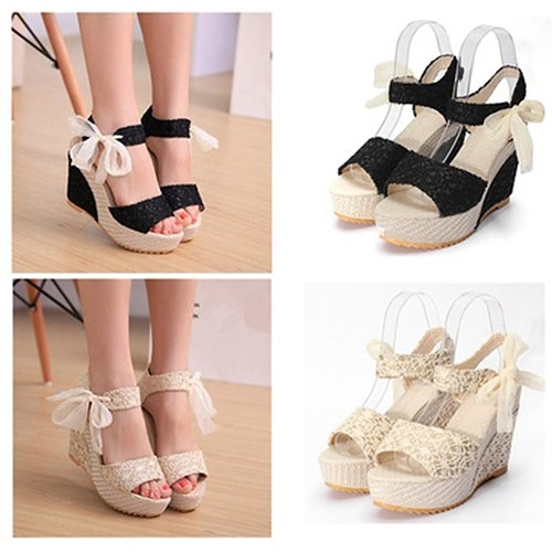 Women Summer High Heel Wedge Platform Sandals Bowknot Ankle Lace Strap Shoes