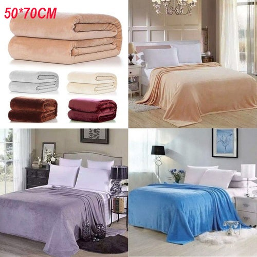 Home Textile Solid Air/Sofa/Bedding Throws Flannel Blanket Winter Warm Soft Bedsheet 50*70cm