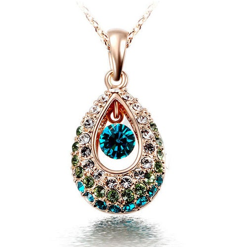 18kt Gold Plated Rhinestone Crystal Tear Drop Necklace