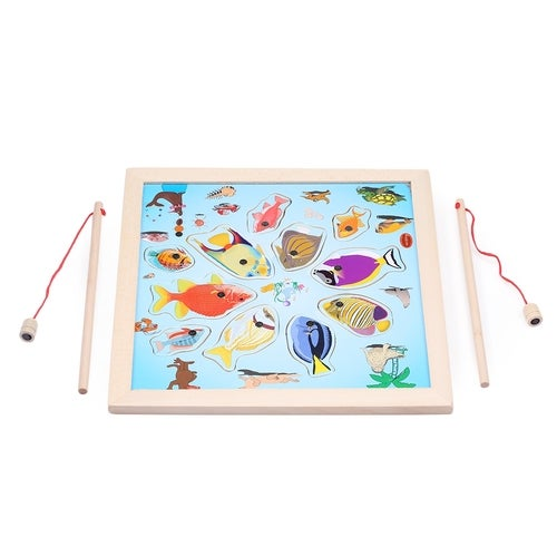 Kids Creative Magnetic Wooden Fishing Puzzle Board Toy