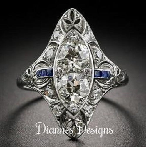 Vintage Inspired Ring Blue Accents 23x20mm By Diannes Designs