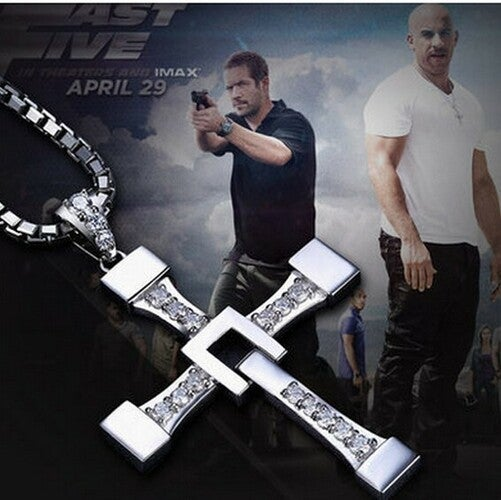 Fast And The Furious Dominic Toretto Vin New Movie Jewelry Classic Rhinestone Pendant Sliver Cross Necklaces Men