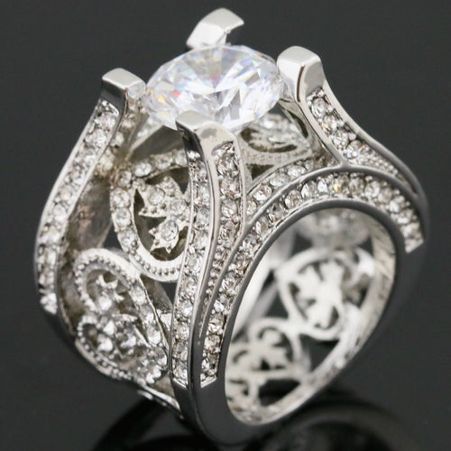 Heart & Leaf CZ Statement Ring #860