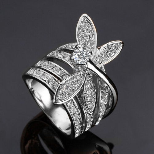 Dragonfly Ring Good Luck Ring White Gold CZ Women Statement Ring #534