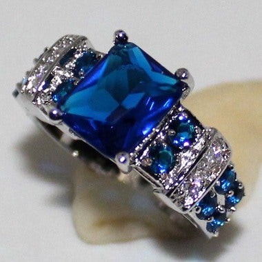 Jewelry High Quality Blue Cz Lover Wedding Ring B22