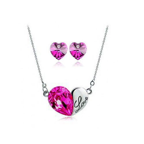 18kt White Gold Plated Heart Love Crystal Set