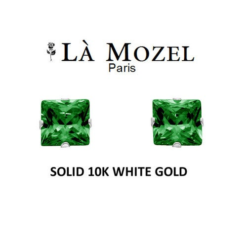 Luxury Solid 10K White Gold Classic Elegant HandCrafted Princess Cut Stud Earrings Featuring Genuine Green Stone- 3MM