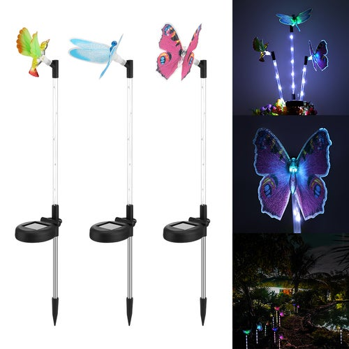 3pcs Multi-color Solar Garden Light LED Lawn Light Gradual Changing Path Light Butterfly + Hummingbird + Dragonfly with a White LED Light Stake for Landscape Lawn Veranda Park Beach Courtyard Holiday Party Decoration