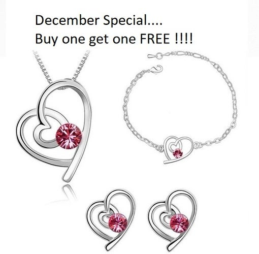 December Special... Buy one get one FREE!!! 18K WGP Swavorski Crystal and AAA CZ Heart Necklace set