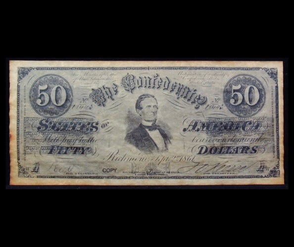 1861 $50 Confederate States of America Fifty Dollar Note  - Reproduction -