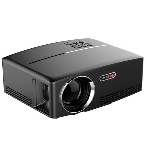 """GP80 LED Projector 1080P 1800 Lumens 800 * 480 Pixel 2200:1 Contrast Ratio EU Plug Full Color 180"""" with HD-IN VGA AV USB Remote Controller for Notebook Laptop Tablet PC"""
