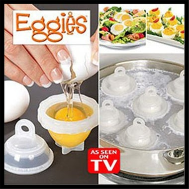 Hot 1 Set/7 Piece Hard Boil Egg Cooker 6 Eggies Without Shells With Bonus Egg Wh
