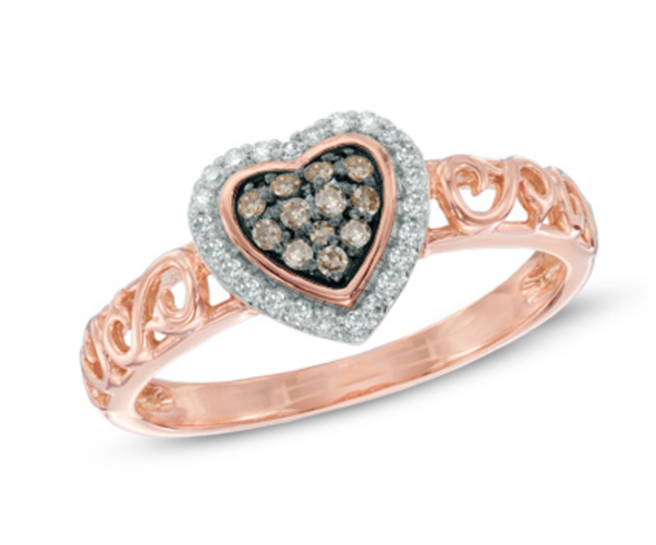 Rose Gold Halo Heart Chocolate CZ Ring #1004
