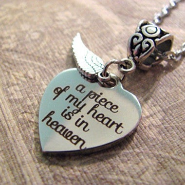 A Piece Of My Heart Is In Heaven - Christian MEMORIAL NECKLACE