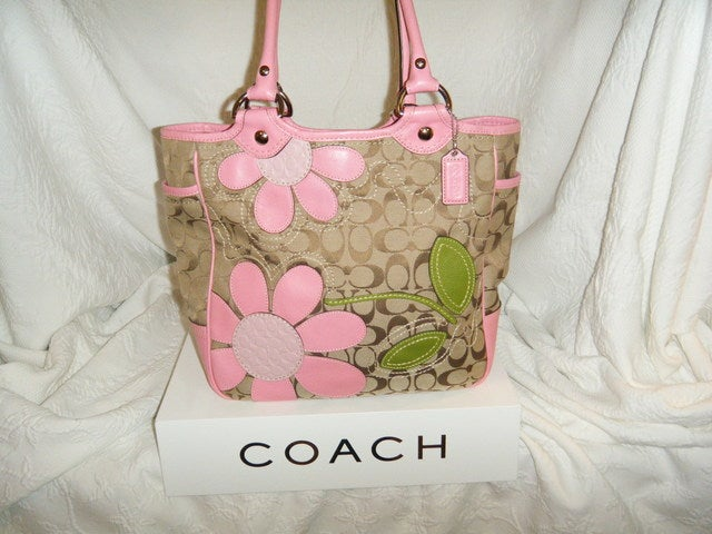 Coach bleecker floral applique tote tophatter