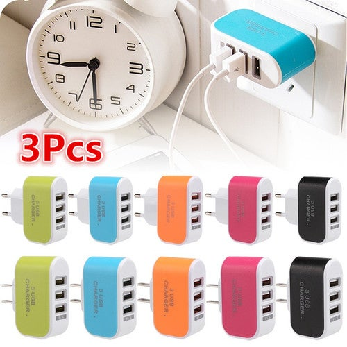 3Pcs 3-Port USB Wall Home Travel AC Charger Adapter for Phone EU/US Plug  For iPad, iPhones and iPod