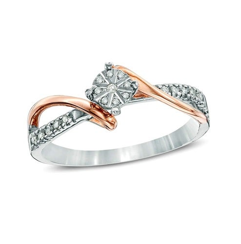 Brilliant white and rose gold filled ring