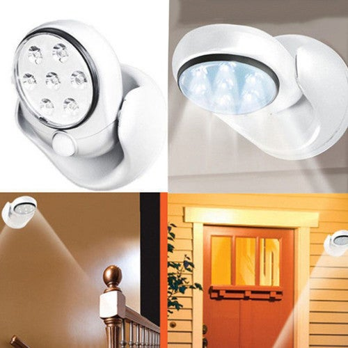 6V 7 LEDs Cordless Motion Activated Sensor Light Lamp 360 Degree Rotation Wall Lamps