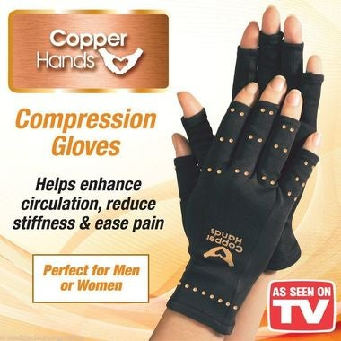 Copper Hands Arthritis Therapeutic Compression Gloves Withou tBox