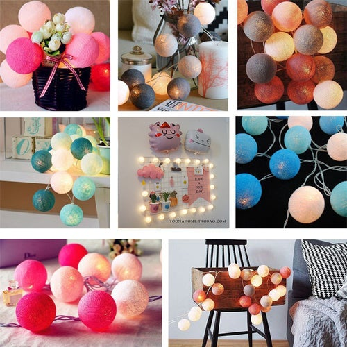 20 Balls LED Cotton Ball String Light 18 kinds of match colors Battery operated Home Decoration Light Party Wedding Christmas Valentine's Day Decoration