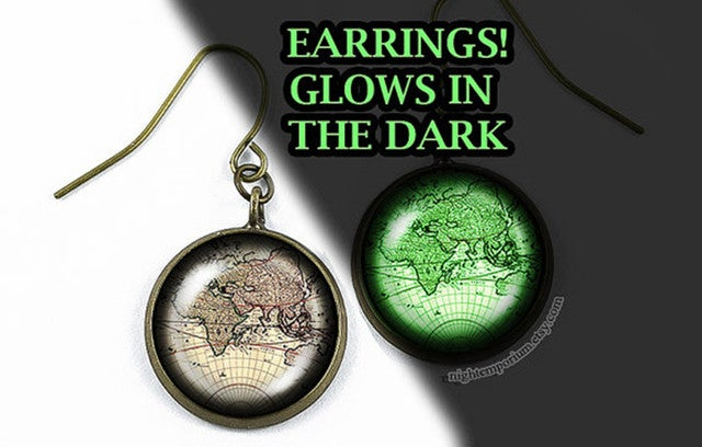 World map vintage travel glow in the dark bronze sterling silver earring hypoallergenic nonpierced holiday travel sweet home dream traveller