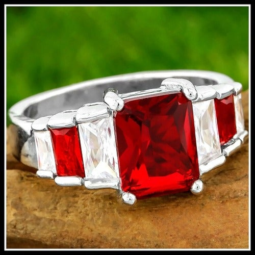 4.60ctw AAA+ Grade Red and White Cubic Zirconia CZ, 14k White Gold Filled Ring