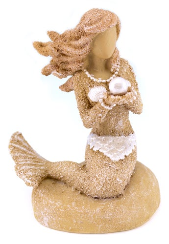 Sand and Shell Mermaid Holding Pearl Tabletop Figurine 3.25 Inches