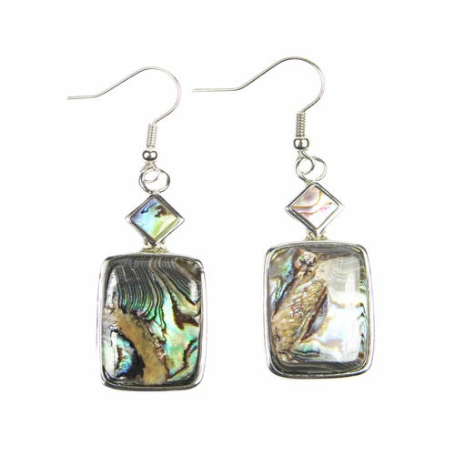 Abalone Shell Rhodium Plated Dangle Hook Earrings