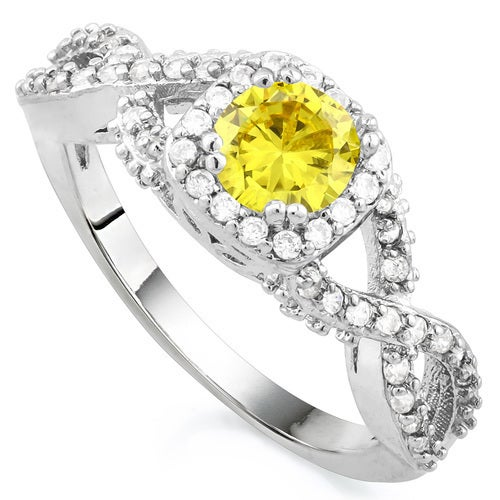 14k Gold Filled Beautifully Created Yellow and White Sapphire Ring