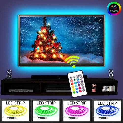 Fun A3 LED TV Backlight Kit USB Multi-color RGB Home Theater Background Accent lighting Waterproof Strip Lights for HDTV Computer and Aquarium with RF Remote Control