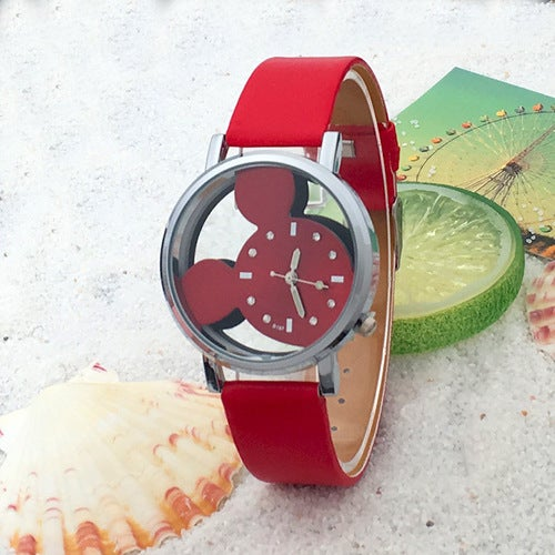 Hollow Double - sided Perspective Drill Cartoon Mouse Belt Child Watch
