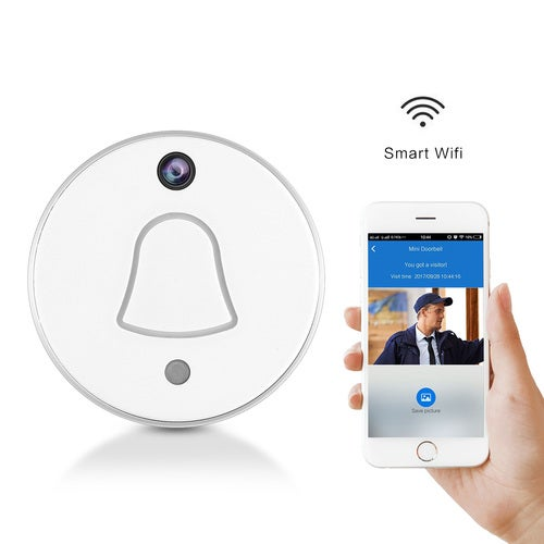 Smart Wireless WiFi Enabled Doorbell with Camera Package Wireless RF Receiver Chime- Automatically Takes Picture When Pressing Free Cloud Storage for Your Smartphone App Push Notificationn with Visitor Snapshot Picture for Home Security System UK/EU/US Pl