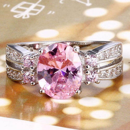 Captivating Pink & White Sapphire Sterling Silver 925 Ring