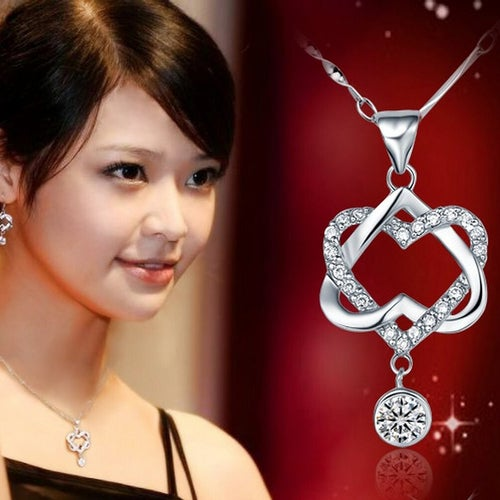 VERY BEAUTIFUL STUNNING Fashion 925 Silver Plated Women Double Heart Pendant Necklace Chain Jewelry