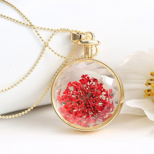 Fashion New Jewelry Romantic Transparent Crystal Glass Round Floating Locket Dried Flower Plant Specimen Golden/Silver Pendant Chain Necklace for Women Girls