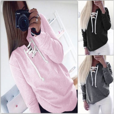 Autumn Pullovers Sweatshirt Fashion Bandage Hoodies Women Sweatshirt Casual Hood