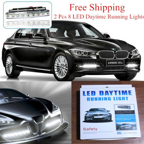 Free Shipping!!! 2 Pcs 8 LED Daytime Driving Running Light DRL Car Fog Lamp Waterproof DC 12V