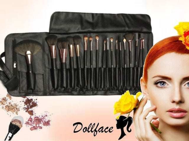 Dollface 18 piece deluxe professional brush set & travel wrap