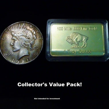 Copy Collectors Pack of 1921-P Peace Silver Dollar and 24K Gold Bar Copy Tribute