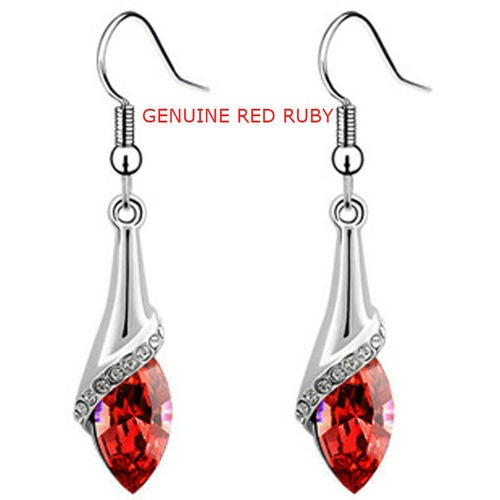 Genuine Red Ruby Amazing Tear Drop Earrings Everyday Wear Red Ruby Stones