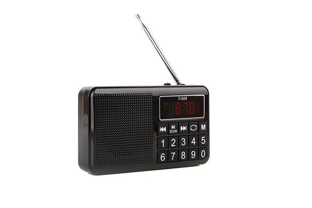 Portable Rechargeable Digital LED Display Panel Stereo FM/MW/SW Radio Speaker Support USB TF Mirco AUX SD Card MP3 Music Player for The Elderly-(Black)