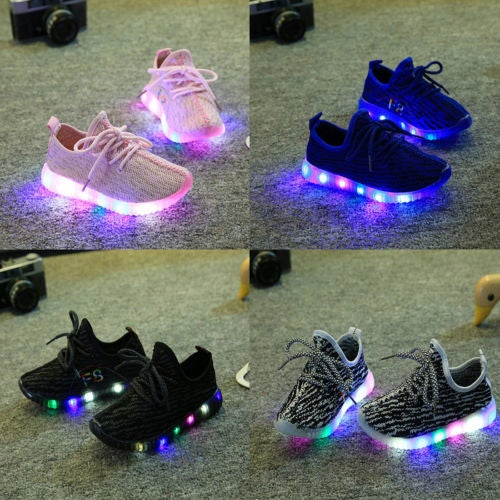Unisex Boy Girl LED Breathable Mesh Sport Shoes Toddler Casual Running Sneakers